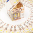 Stock Photo: Euro house and banknotes