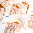 Houses from euro banknotes — Stock Photo #10540598
