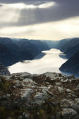 Fjord in misty weather — Stock Photo