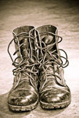 Leather Army Boots — Stock Photo