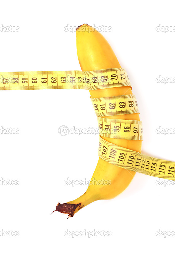 Diet concept. banana with measuring tape — Stock Photo #10071034