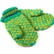 Pair of green knitted gloves — Stock Photo