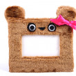 Brown fluffy photo frame — Stock Photo
