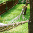 Stock Photo: Hammock in backyard