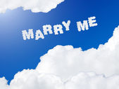 Marry me text in the sky — Stock Photo