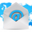 Email icon over world map — Stock Photo