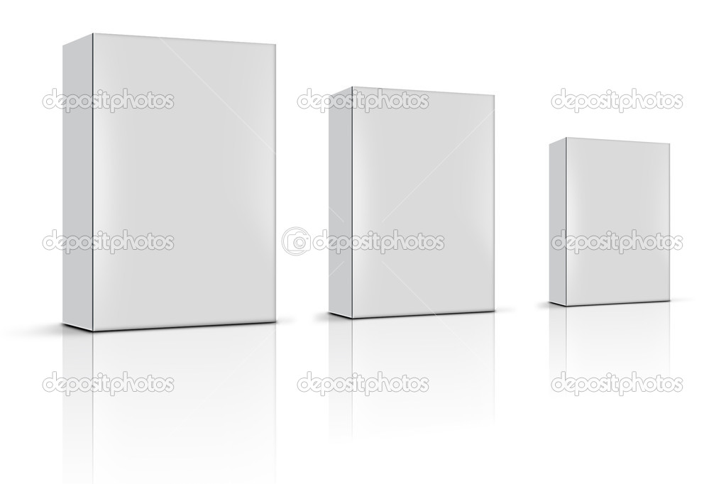 Three blank product boxes — Stock Photo #9409404