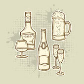 Alcohol Drinks Icons Set — Stock Vector