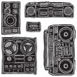 Set of black&white vector tape recorders. - Stock Vector