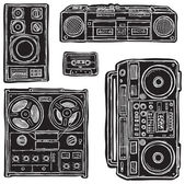 Set of black&white vector tape recorders. — Stock Vector