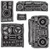 Set of black&white vector tape recorders. — Stock Vector