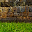 Stock Photo: Vintage wall and green grass