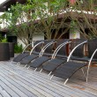 Black rattan chairs — Stock Photo
