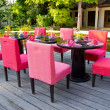 Stock Photo: Pink dinner table