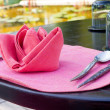 Tablecloth with spoon and fork - Stock Photo