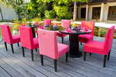 Pink dinner table — Stock fotografie