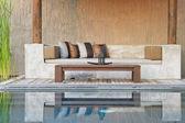 Sofa and pool — Foto de Stock