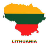Lithuania, map with flag, isolated on white, with clipping path — Stock Photo
