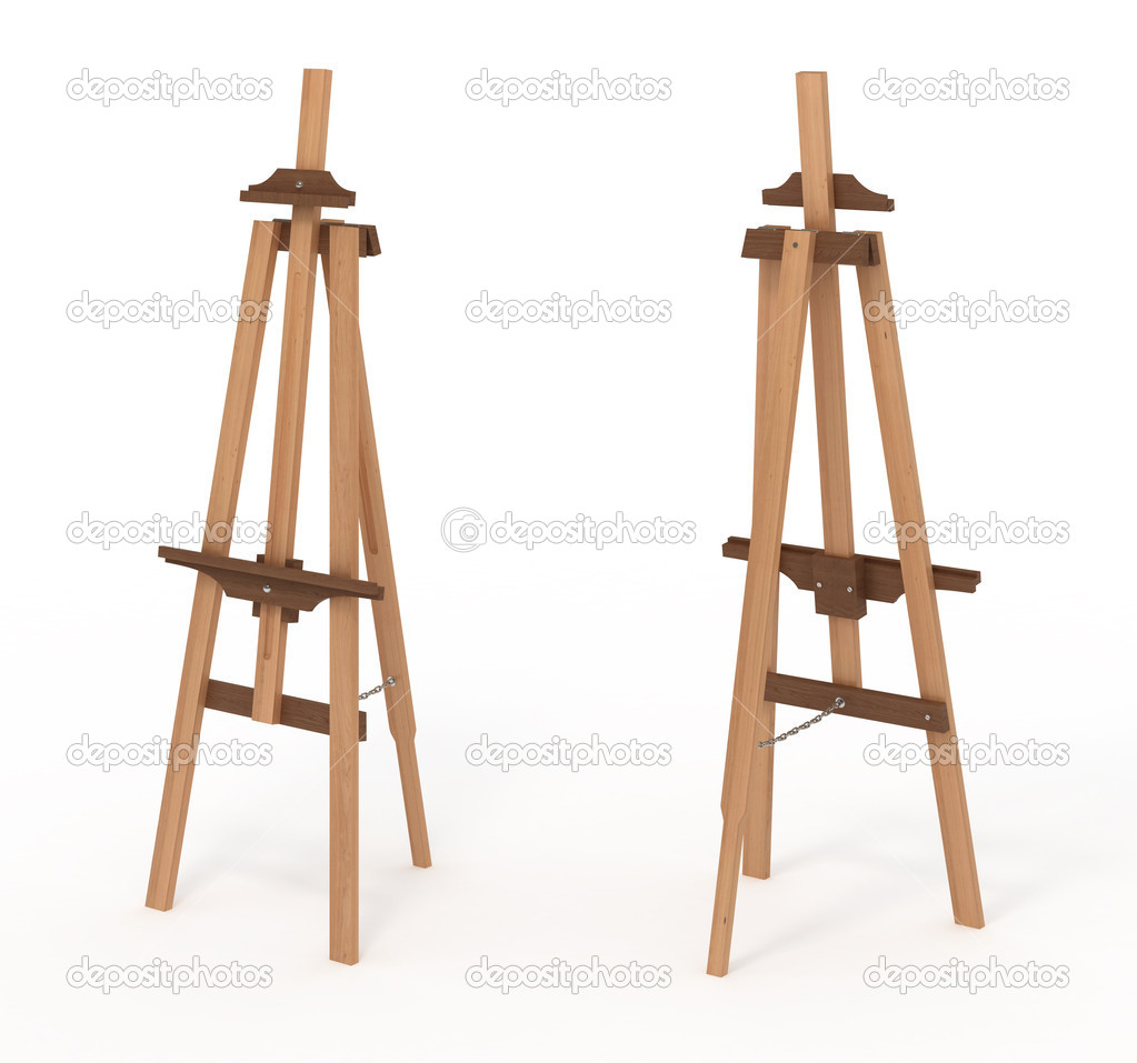 Wooden easel, empty, front and back, isolated with clipping path ...