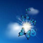 Blue butterflies — Stock Vector