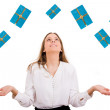 Excited beautiful woman with many gift boxes — Stock Photo