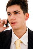 Young business man am telefon, isoliert — Stockfoto