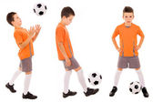 Boy with soccer ball. Isolated on white — Stock Photo