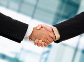 Closeup picture of businesspeople shaking hands, making an agree — Stock Photo