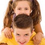 ridere bambini piccoli su sfondo bianco — Foto Stock #9361251
