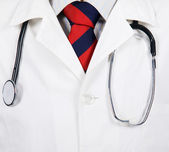 Close up of a doctors lab white coat. — Stock Photo
