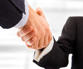 Business shaking hands. Bright blurred background. — Stock Photo