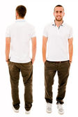 Front and back of a young casual man full body standing isolated — Stok fotoğraf