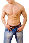 Sexy muscular man isolated on white — Stock Photo