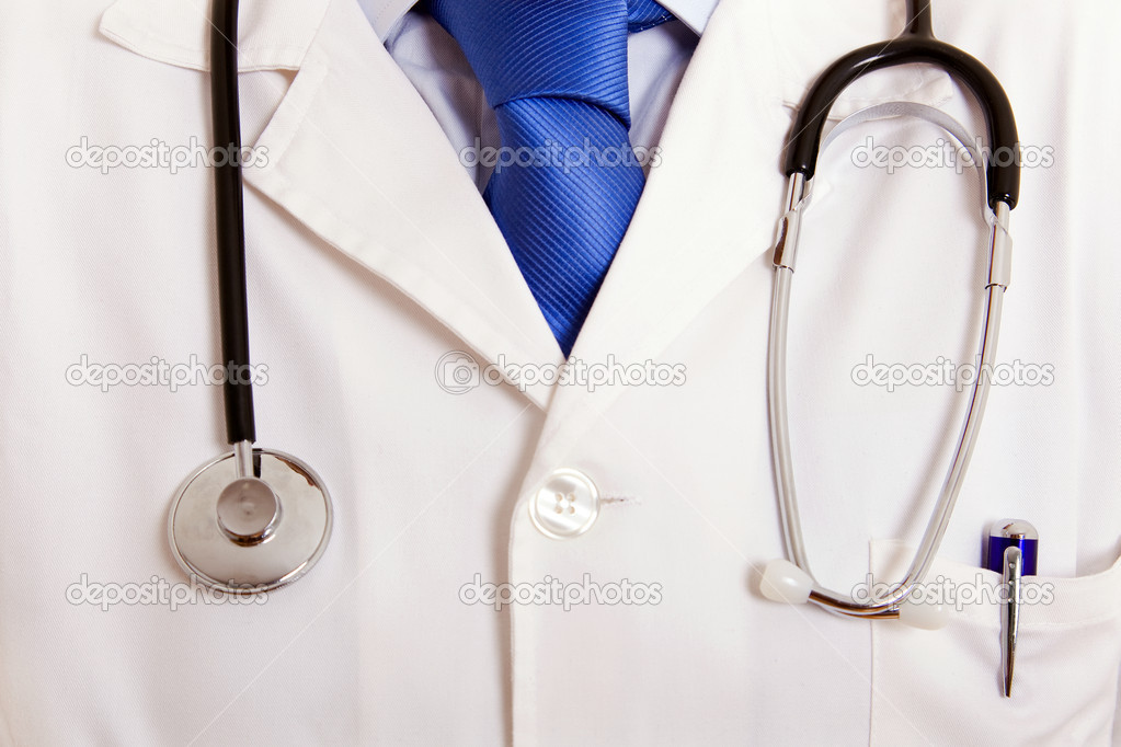 Close up detail of a doctors lab white coat — Stock Photo #9361059
