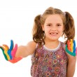 Happy little child with painted hands, isolated on white — Stock Photo