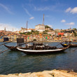 Ancient transporting wine boats at Douro river in oPorto, north — Stock Photo