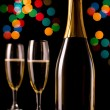 Stock Photo: Champagne glasses and bottle