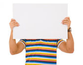 Man holding a blank white board — Stock Photo