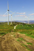 White wind turbines in the top of the mountain — Stock Photo
