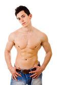 сексуальная мускулистый мужчина, изолированные на белом фоне — Стоковое фото