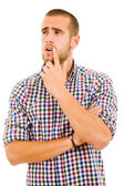 Young Pensive Man on white background — Stock Photo