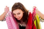 買い物袋を保持している美しい幸せな若い女. — ストック写真