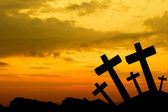 Crosses silhouette at sunset — Stock Photo