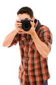Young photographer with camera, — Stock Photo