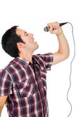 Handsome young man singing — Stock Photo
