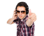 Young listening music — Stock Photo
