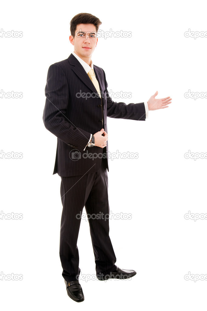 Young businessman with arm out in a welcoming gesture , isolated on white background — Stock Photo #9377815