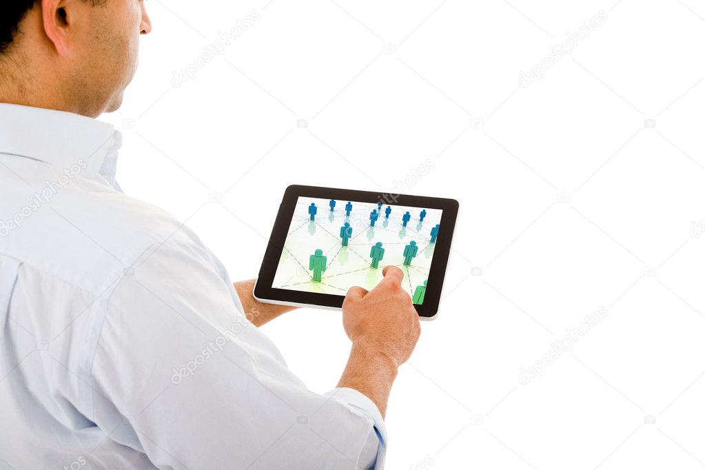 Young man with a tablet computer against white background — Stock Photo #9378759