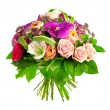 Bouquet of rose, paeonia and orchid — Stock Photo