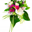 Stock Photo: Bouquet of roses, gerberas, orchids and anthurium